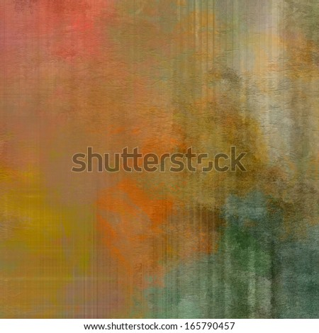 art abstract watercolor background on paper texture in light orange, gold yellow, coral red, rose, beige and green colors - stock photo