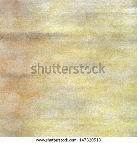 art abstract watercolor background on paper texture in light yellow, grey and beige colors - stock photo