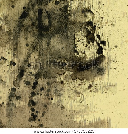 art abstract watercolor beige background with black inkblots  - stock photo