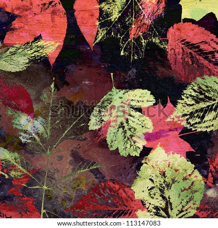art autumn leaves background, card in pink, purple, red, brown and green colors - stock photo