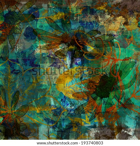 art autumn leaves background in green, blue, yellow and brown colors - stock photo