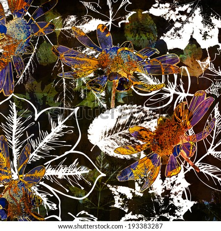 art autumn leaves watercolor and graphic background in black, white, green, gold, orange and blue colors - stock photo