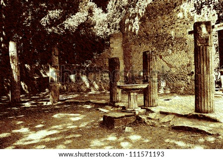 art background with europeans antique town, ruins of columns, Pompeii, Italy - stock photo