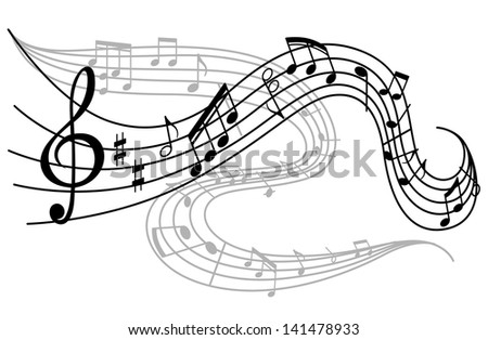 Art background with waves of musical notes. Vector version also available in gallery - stock photo