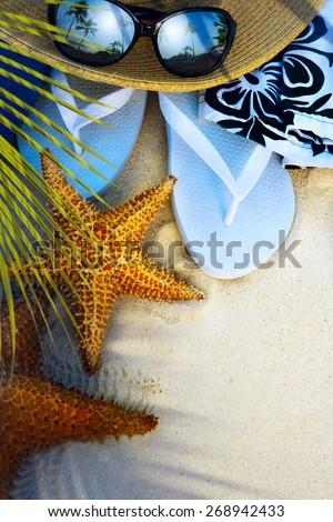 art beach accessories on a deserted tropical beach - stock photo