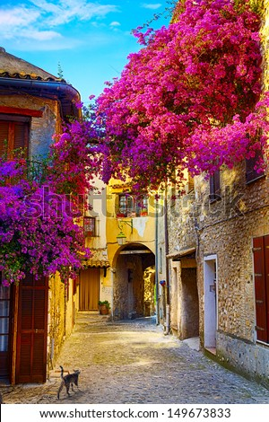 art beautiful old town of Provence - stock photo