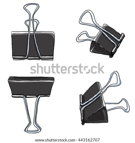 art Binder Clips Paper Clips Durable Office Paper File Organize photo clip holder office accessories painting illustration - stock photo
