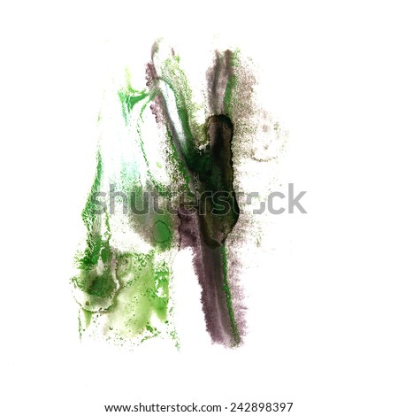 art Black, green watercolor ink paint blob watercolour splash colorful stain isolated on white background - stock photo
