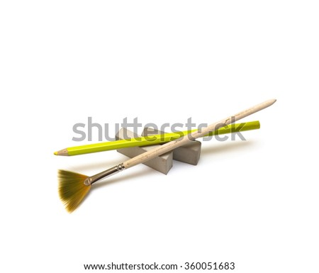Art brush, pencil and erasers on a white background   - stock photo