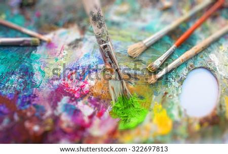 Art brushes on white backgraund - stock photo