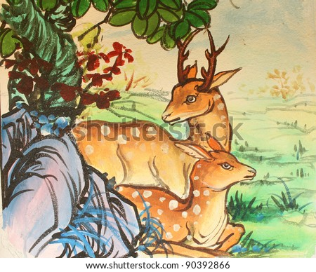 Chinese Deer Painting Art Chinese Style Painting on