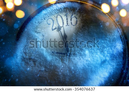 Art Christmas and New year clock 2016 - stock photo