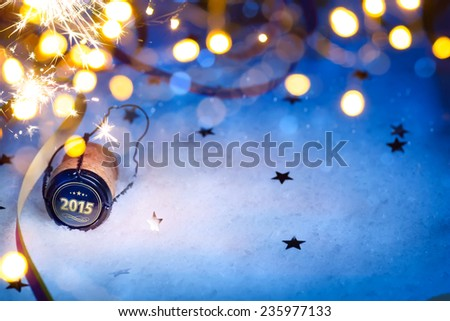 art Christmas and 2015 New year party background - stock photo