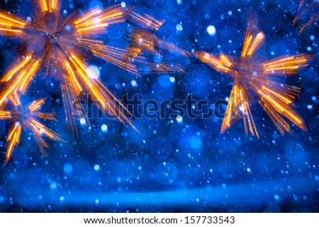 Art Christmas Lights on blue background - stock photo