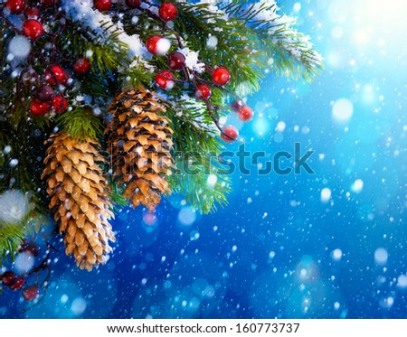 Art Christmas tree on blue night  background - stock photo