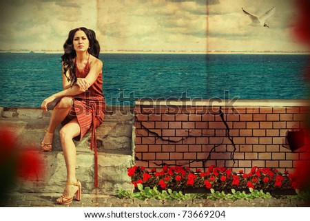 art collage. beauty young woman near the sea - stock photo