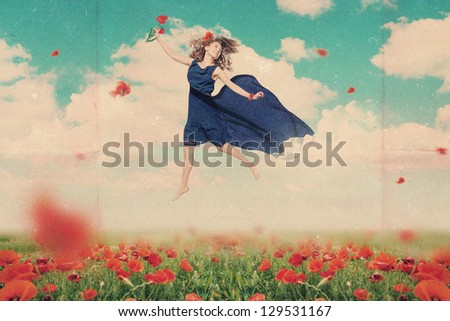 art collage with beautiful woman - stock photo