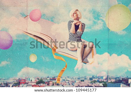 art collage with beautiful woman, vintage image - stock photo