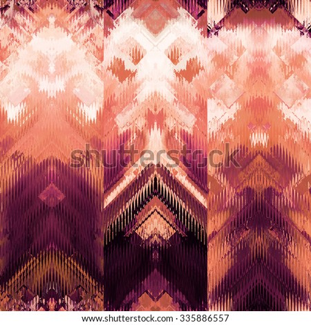 art colorful ornamental ethnic styled seamless pattern with vertical rows; blurred watercolor background in purple, orange coral and white colors - stock photo
