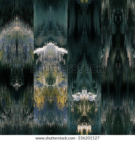 art colorful ornamental ethnic styled seamless pattern with vertical rows; blurred watercolor background in dark blue green, gold and black colors - stock photo