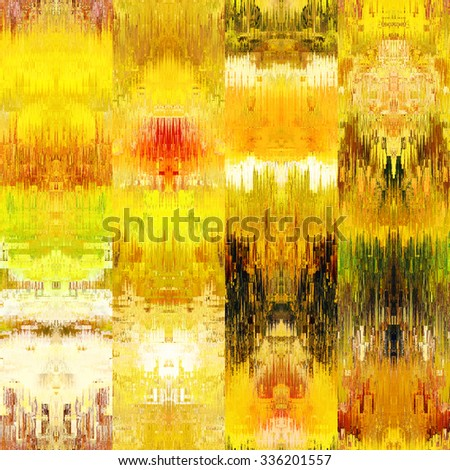 art colorful ornamental ethnic styled seamless pattern with vertical rows; blurred watercolor background in gold, orange, brown and green colors - stock photo