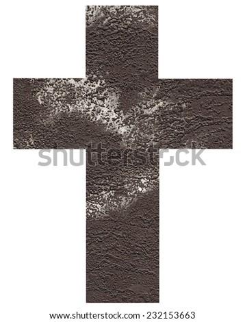 Art cross.Handmade etching print on paper. - stock photo