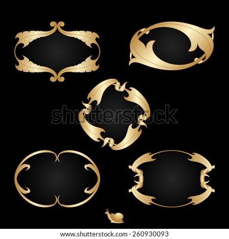 Art deco gold frames with space for text. Raster version. - stock photo