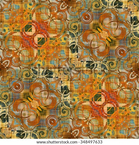 art deco ornamental vintage pattern in orange, old gold and grey green colors - stock photo