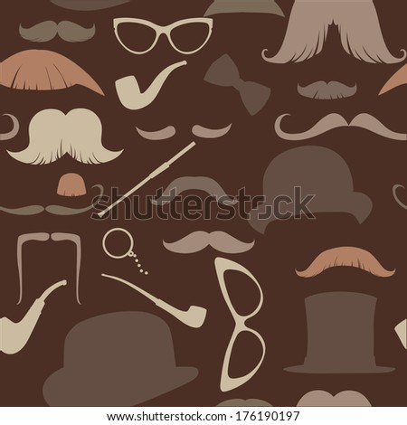 Art Deco seamless pattern in retro style, vector illustration warm brown range - stock photo