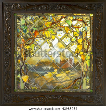 Stock images similar to id 30878389 half round stained for Art deco glass windows