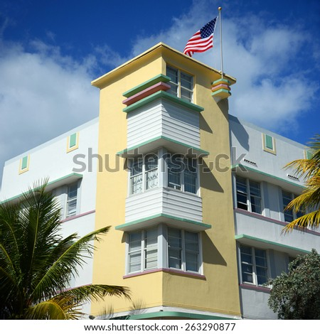 Art Deco Style Building Avalon, Miami, Florida, USA. - stock photo