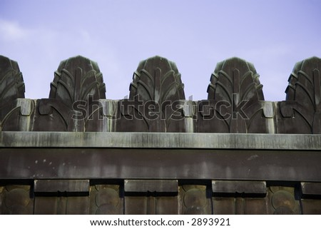 Art Deco wall from the Griffith Observatory - stock photo