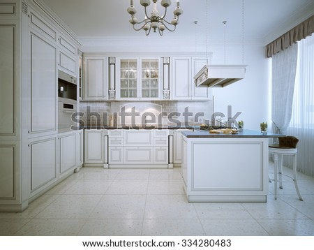 Art deco white kitchen interior. 3D render - stock photo