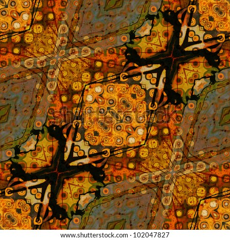 art eastern national traditional pattern with halftone in bright orange, old gold, brown, green, grey and black colors - stock photo