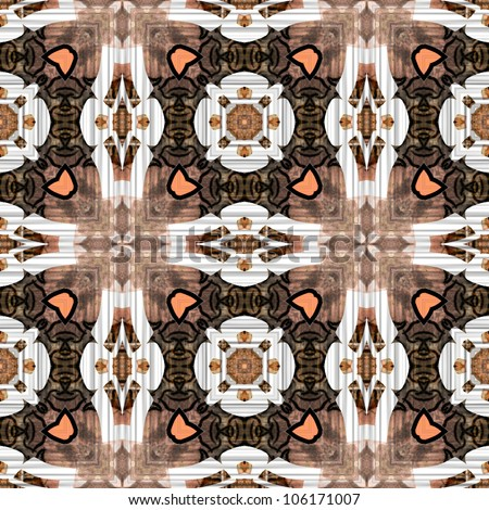 art eastern ornamental traditional tiled pattern in brown, coral pink and white colors - stock photo