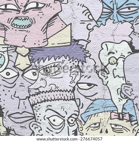 art faces background - stock photo