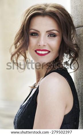 Art fashion portrait of young woman - stock photo
