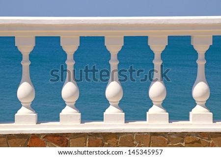Art fencing of the sea embankment - stock photo
