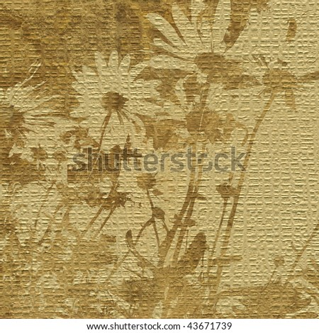 art floral grunge graphic background in beige and brown colors - stock photo