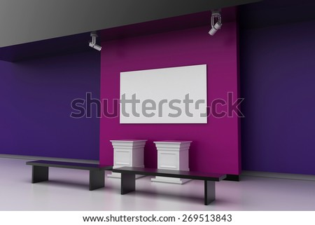 Art gallery; empty space, copy space image. 3d render, original models. - stock photo