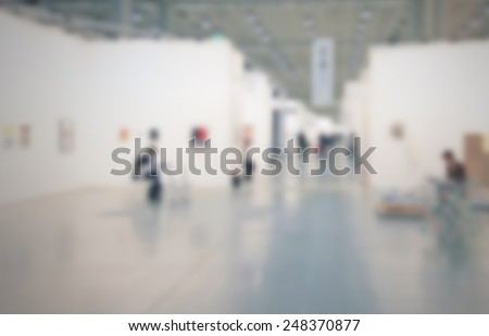 Art gallery generic background. Intentionally blurred post production. - stock photo