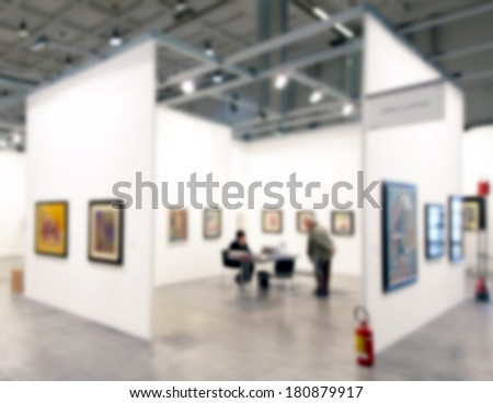 Art gallery, intentional blurred background post production - stock photo