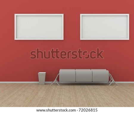 Art gallery interior with red wall, wooden floor and simple bench. Ready to paste two pictures. - stock photo