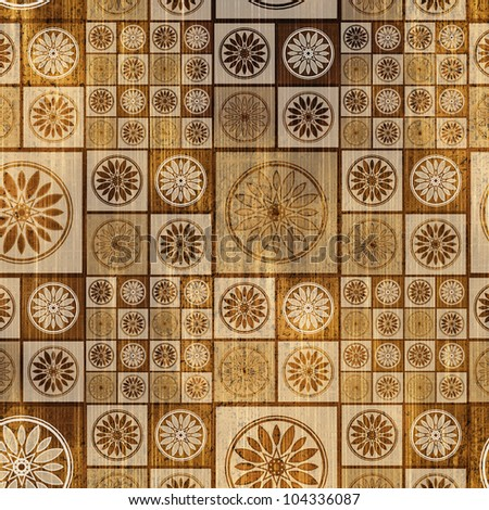 art geometric seamless patterns, monochrome brown and beige tiles background - stock photo