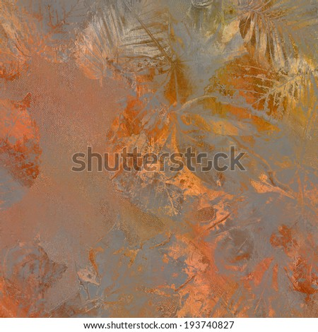 art golden autumn leaves background in grey, bright orange, gold and brown colors - stock photo