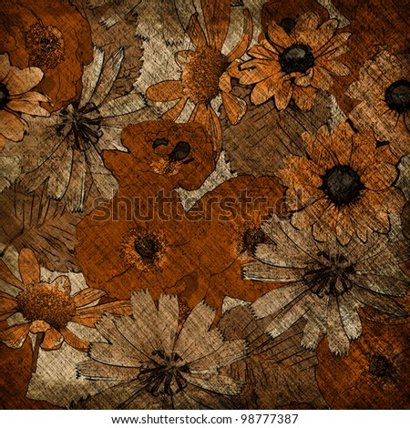 art grunge autumn floral background in brown, beige, white, orange and black colors - stock photo