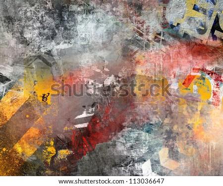 Art grunge background, colorful illustration - stock photo