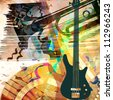 art grunge background with guitar and trumpet - stock photo