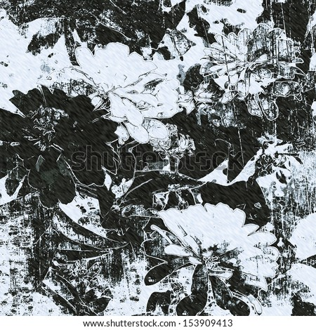 art grunge floral vintage background in black and white - stock photo
