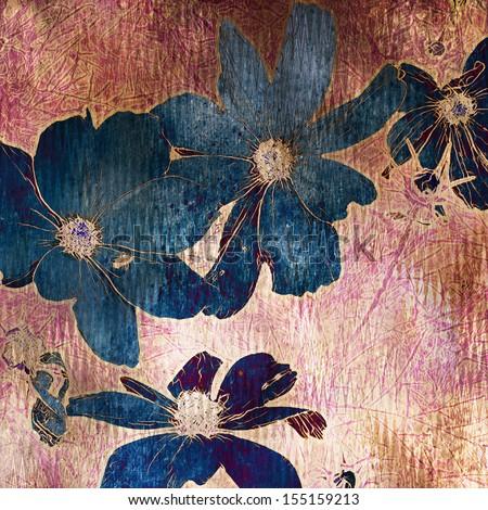 art grunge floral vintage orange background with chamomiles - stock photo